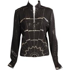 St. John Black Wool Jacket with Art Deco Inspired Silver and Black Decoration