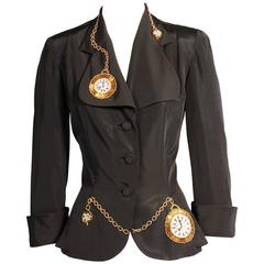1940's Black Faille Jacket, Beaded Pocket Watch Decoration