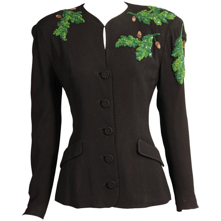 1940's Black Crepe Jacket, Beaded Oak Leaf Decoration 1