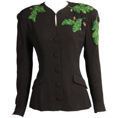 1940's Black Crepe Jacket, Beaded Oak Leaf Decoration