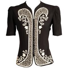 1930's Black Jacket with White Soutache Braid Decoration