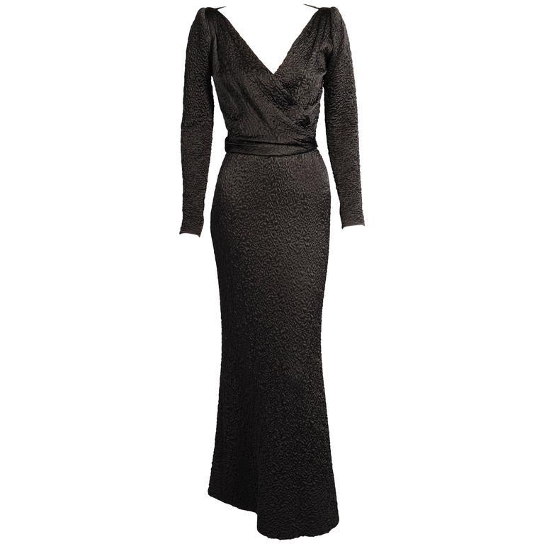 Givenchy Haute Couture Black Silk Cloque Evening Dress 1