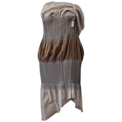 Issey Miyake FETE, Grey and Brown Asymmetric Pleated Dress with Adjustable Strap