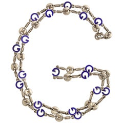 1970s Gucci Enameled Silver Chain