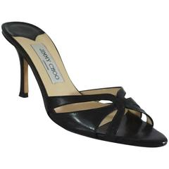 Jimmy Choo Black Leather Cutout Sandal/Slide - 37