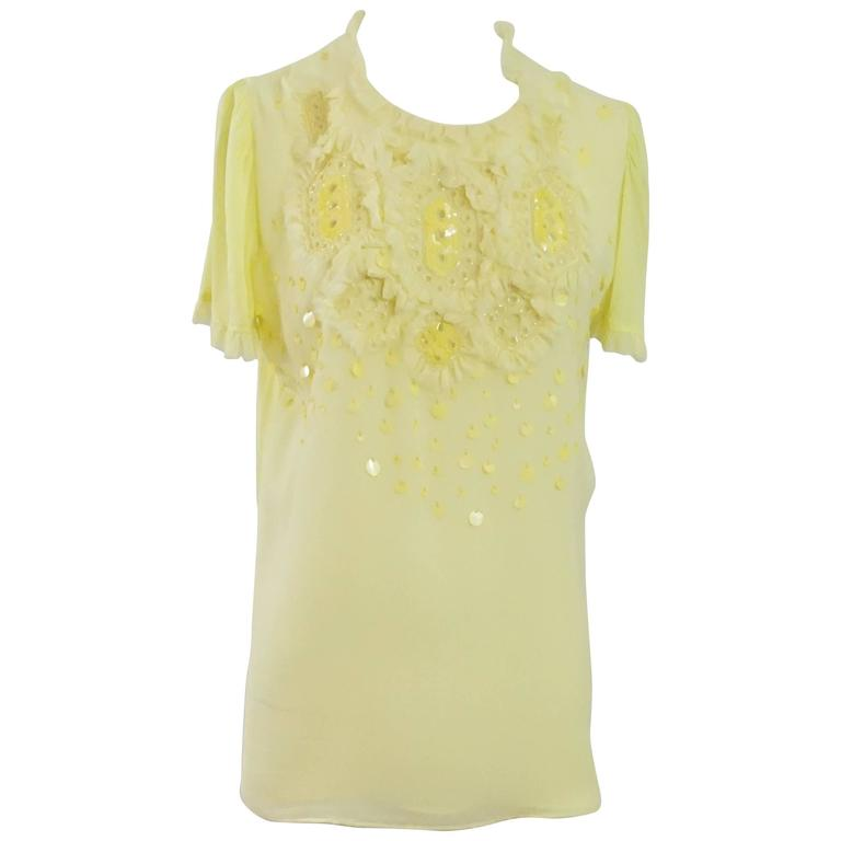 Emilio Pucci Yellow Cotton & Silk Beaded Short Sleeve Top - 10