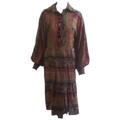 1970s Jean Varon Autumn Colors Smock Dress