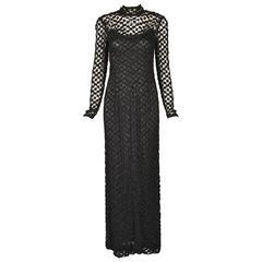 1970s Pat Sandler Black Crochet Gown