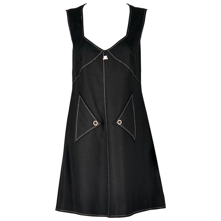 1980s Courreges Mod Style Black Dress