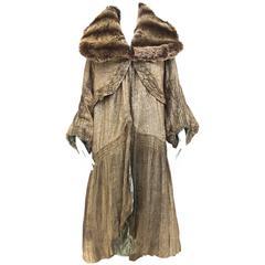 1920s silk lame opera coat with faux fur