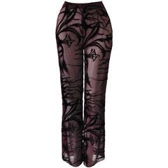Mod Angelo Mozzillo Sheer Burgundy Burnt Out Velvet Pants