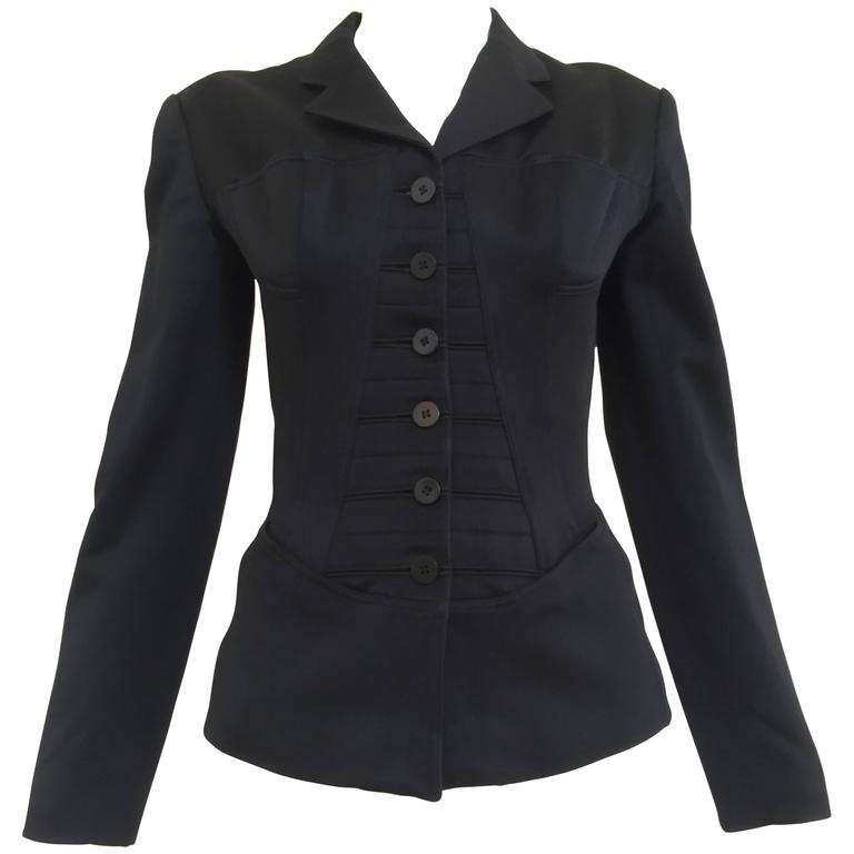 80S ALAIA black cotton fitted blazer