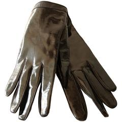 Pierre Cardin Black Patent and Calf Leather Gloves Ladies Size 7.5 Mod 1970s