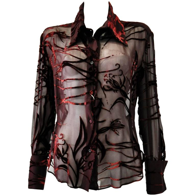 Mod Angelo Mozzillo Sheer Burgundy Burnt Out Velvet Shirt For Sale
