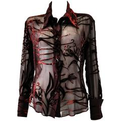 Mod Angelo Mozzillo Sheer Burgundy Burnt Out Velvet Shirt