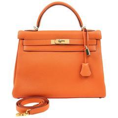 Hermès Orange Togo 32cm Kelly Bag with Gold Hardware
