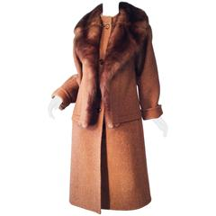 Chic Galanos Sable Fur Trimmed Coat, 1960s