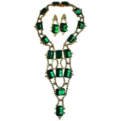 Kenneth Jay Lane Emerald Glass Showstopper Necklace and Earrings