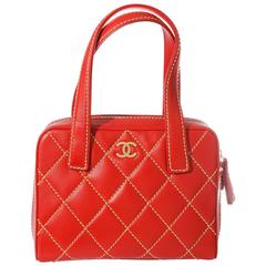 Chanel Wild Stitch Quilted Zip Tote Bag - red calf leather