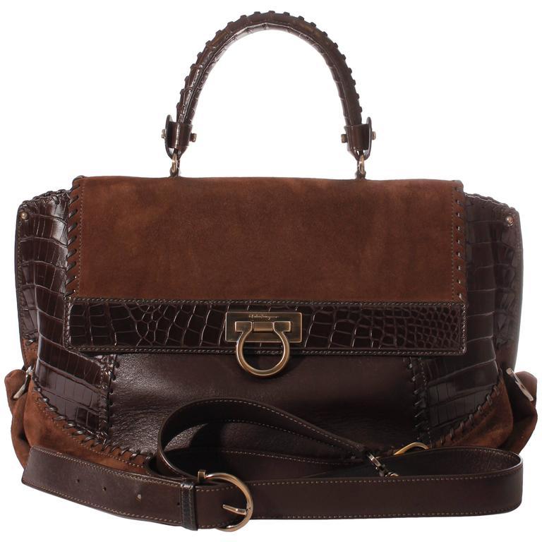 Salvatore Ferragamo Sofia Large Tote Bag - brown/croco/suede For Sale