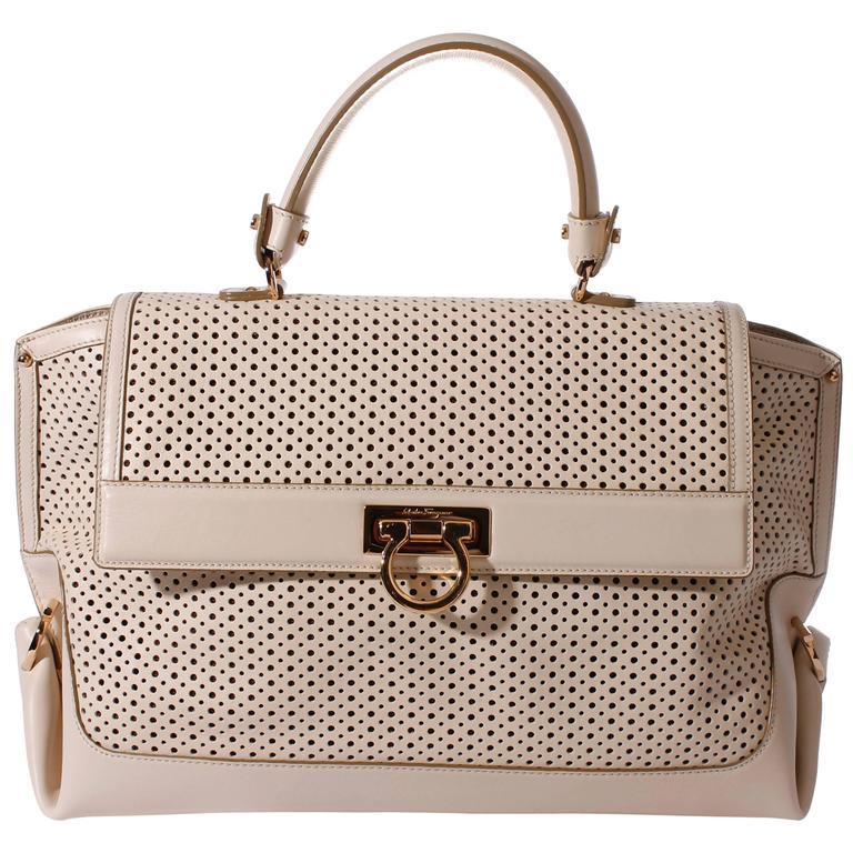 d63d699860e9b Salvatore Ferragamo Sofia Large Tote Bag - off-white pierced leather For  Sale