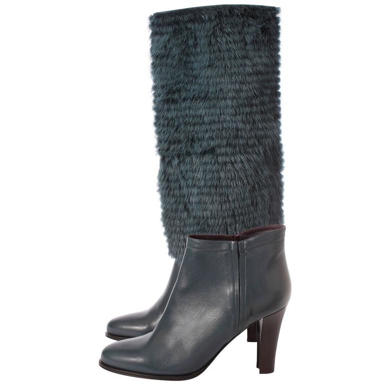Salvatore Ferragamo Leonore Detachable Shaft Boot - petrol