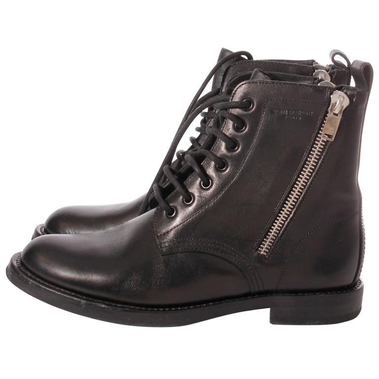 95ed35bcf06 Saint Laurent Ranger Combat Zip Boots - black leather at 1stdibs