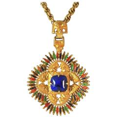 1970s Larry VRBA for Castlecliff Goldtone Tribal Pendant Necklace