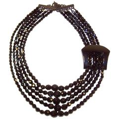 C.1990 Giorgio Armani Jet Black Bead Multi Strand Necklace With Chunky Buckle