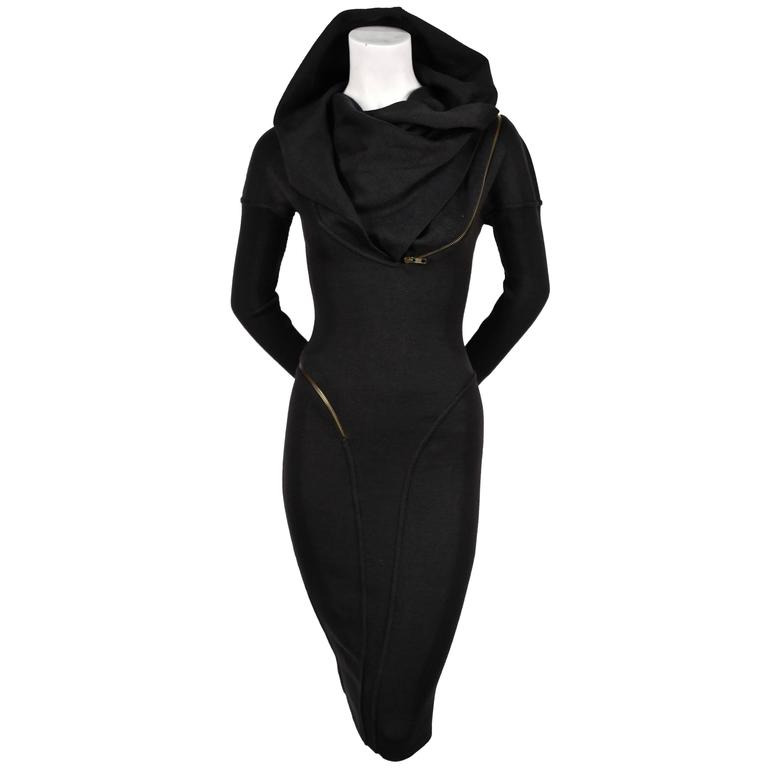 1986 Iconic AZZEDINE ALAIA Hooded Black Wool Zipper Dress