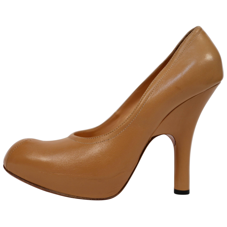 4ec71cda756 VIVIENNE WESTWOOD tan leather platform heels - 41 For Sale at 1stdibs
