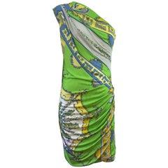 Emilio Pucci Green/Blue/Yellow One Shoulder Dress-42