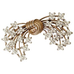 Pennino Gold Washed Sterling Floral Bow Brooch with Rhinestones