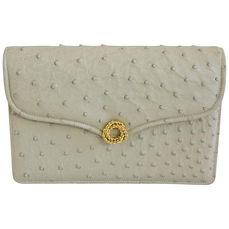 Gucci Bone Ostrich Envelope Clutch with Gold Clasp - 1950's For Sale