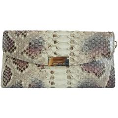 Jimmy Choo Earthtone Python Clutch with Strap - GHW