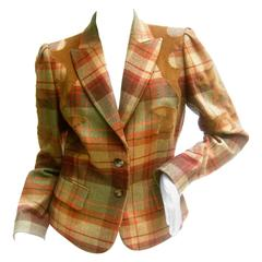 Les Copains Plaid Wool Applique Corduroy Jacket Made in Italy