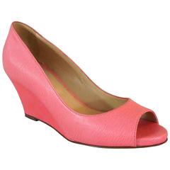 Sergio Rossi Pink Epi Leather Open Toe Wedges - 36.5