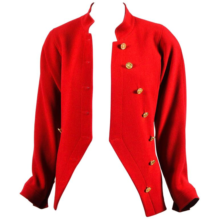 Chanel Red Gold Tone Wool Coin Button Stand Up Collar LS Jacket 1