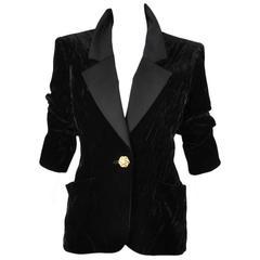Vintage Yves Saint Laurent Black Velvet w/ Rhinestone Button Blazer Size 36