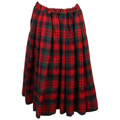 Comme des Garcons Red Green Multicolor Wool Plaid Padded Full Skirt Size XS