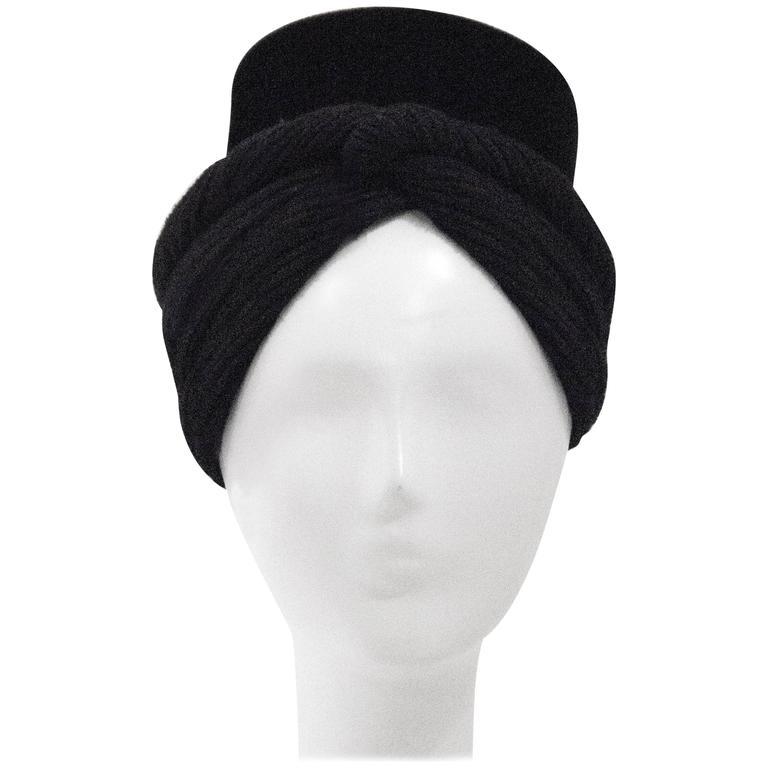 40s Black Beaver Felt and Wool turban