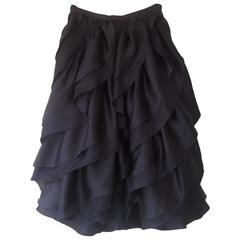 1980 Halston Resort Collection Black Silk Skirt