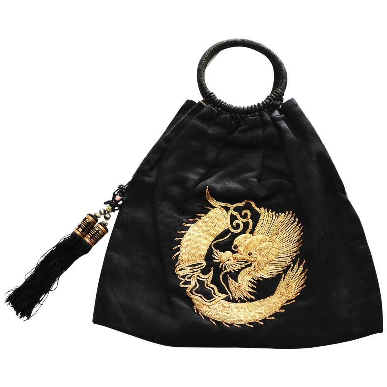 Chinese Embroidery Gold Metallic Dragon Black Silk Handbag Purse with tassels