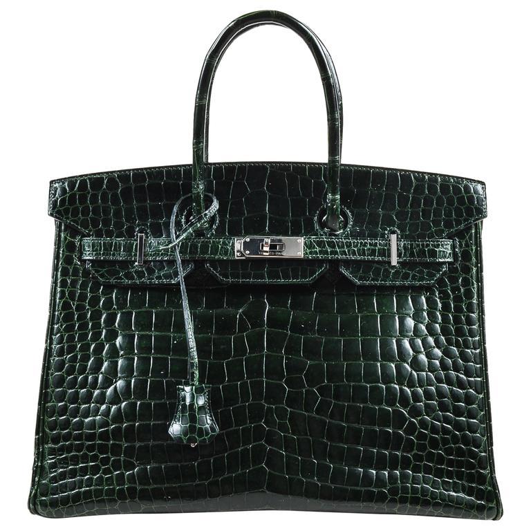 "Hermes Vert Fonce Crocodile Porosus Shiny Palladium Hardware ""Birkin"" 35 cm Bag 1"