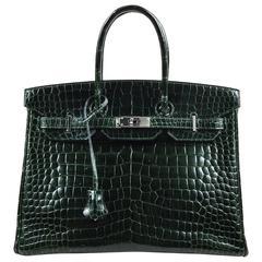 "Hermes Vert Fonce Crocodile Porosus Shiny Palladium Hardware ""Birkin"" 35 cm Bag"