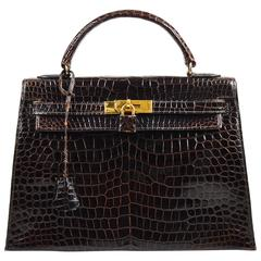 "Hermes Brown Gold Tone Porosus Shiny Crocodile ""Kelly 32"" Hand Bag Purse"