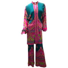 Fabulous 1970's Leonard Tunic and Palazzo Pant Suit