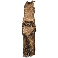 John Galliano Leopard Print Silk Chiffon Halter Evening Gown Dress