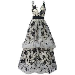 Oscar de la Renta Ivory Tulle Ball Gown w/ black sequin & patent detail-10