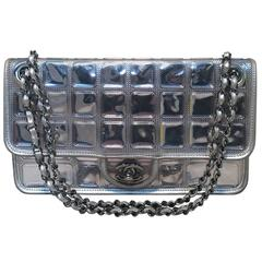 LIMITED EDITION Chanel Silver Ice Cube Classic Flap Shoulder Bag